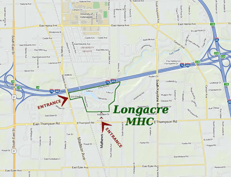 Longacre MHC Is Located Near Shopping And All Conveniences Also Has Easy Access To Nearby Freeways Reach Of Indianapolis
